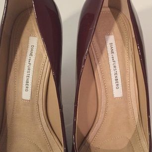 4 year old DVF burgundy high heels, worn once (too high for this old grandma!)