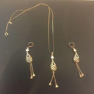Guld pläterad Halsband örhängen smycke Set