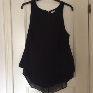 Svart linne från H&M som fungerar bra så väl till vardags som vid finare tillställningar. 100% polyester med längre undertyg bak.
