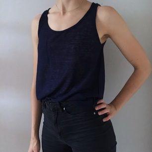 Mörkblått linne från Kappahl gjort i ett tunnare tyg som ter sig en aning genomskinligt. Lite längre i bak. Helt oanvänt.