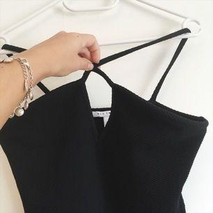 Snygg svart klänning från Nelly! Banden korsas på framsidan vilket jag försökte visa på bilden 🌞 endast testad!
