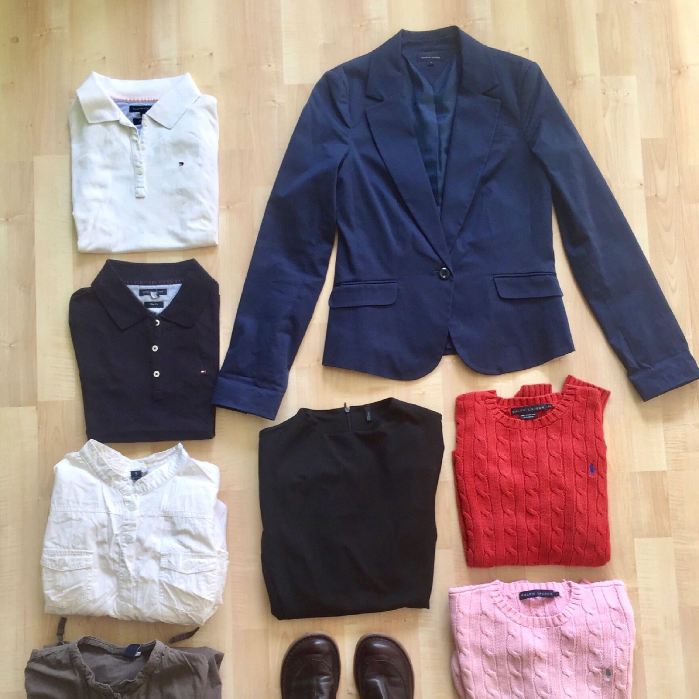 Hej!   Säljer nu mina fina skor och plagg som jag knappt använt. Allt är i mycket fint skick.     Tommy Hilfiger Kavaj, Navy Blue - strl. 34 (US 4)  Pris: 600 SEK (Nypris: 1995 SEK, Tommy Hilfiger New York) Snygg för jobb i kontorsmiljö.     Tommy Hilfiger Piké, 1 Navy Blue + 1 Vit - strl. XS Slim Fit  Pris: 350 SEK/st (Nypris: 749 SEK, Tommy Hilfiger New York) Snygg för jobb i kontorsmiljö eller casual smart.     United Colors of Benetton Smart Dress: strl. 36 - Svart Pris: 250 SEK (Nypris: 400 SEK) Mycket snygg, fitted klänning för formell jobbklädsel eller event.    Camper Ankle Boot: Mörkbrun - Strl. 37 Pris: 850 SEK (Nypris: 1799 SEK köpt i Barcelona) Casual smart, mörkbrun läder med fint mönster.    Sun 360 Skjortklänning: Strl. 38 - Olive + White Pris: 200 SEK/st (Nypris: 499 SEK) Vardagsfina och bekväma skjortklänningar.    Ralph Lauren Stickad tröja: Orange Strl. XS + Rosa Strl. S Pris: 450 SEK/st (1299 SEK/st från Nordiska Kompaniet)  Klassiska stickade tröjor, fina och vardagssnygga. Passar lika bra på kontoret som när man träffar vännerna eller vid släktfesten.      Mvh, Kim. Stickat.