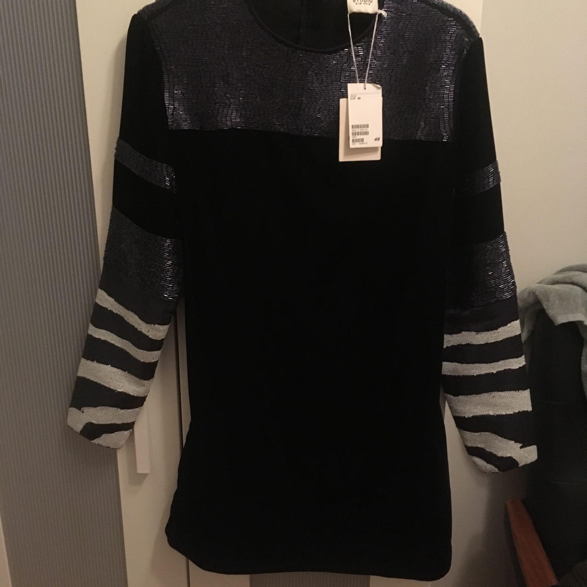 40d191084163 Helt oanvänd, prislapp Klänning från HM studio. Gjord av svart sammet och  paljetter.