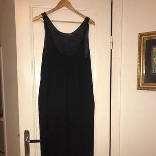 Stickad, mörkblå klänning med djup urringning i ryggen. Supersnygg att ha över en t-shirt eller polotröja.
