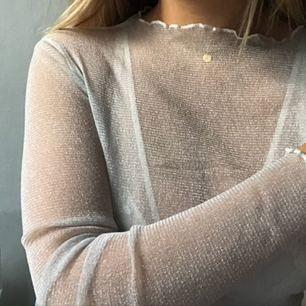 Obruten förpackning, see through/mesh tröja i ljusgrå/nästan vit glitter. Fick hem två och säljer den obrutna (alltså helt oanvänd, Inte provad) förpackningen.