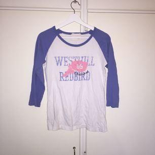 Baseballtröja i blåvitt, säljer pga ingen användning. Kan mötas upp i Stockholm, alternativt står köparen för frakten