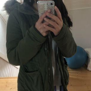 Grön vinter Hollister jacka i storlek S