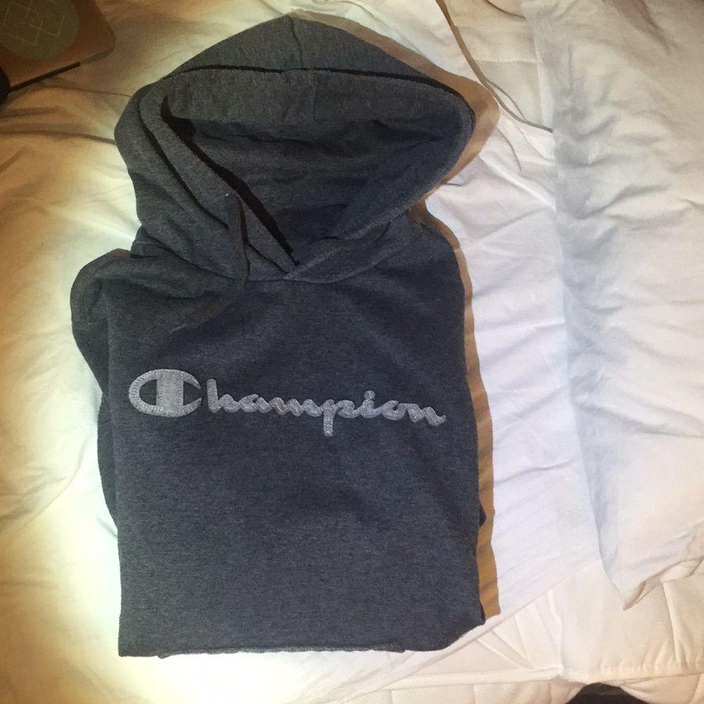 Hoodie champion, grå Damstorlek L. Huvtröjor & Träningströjor.