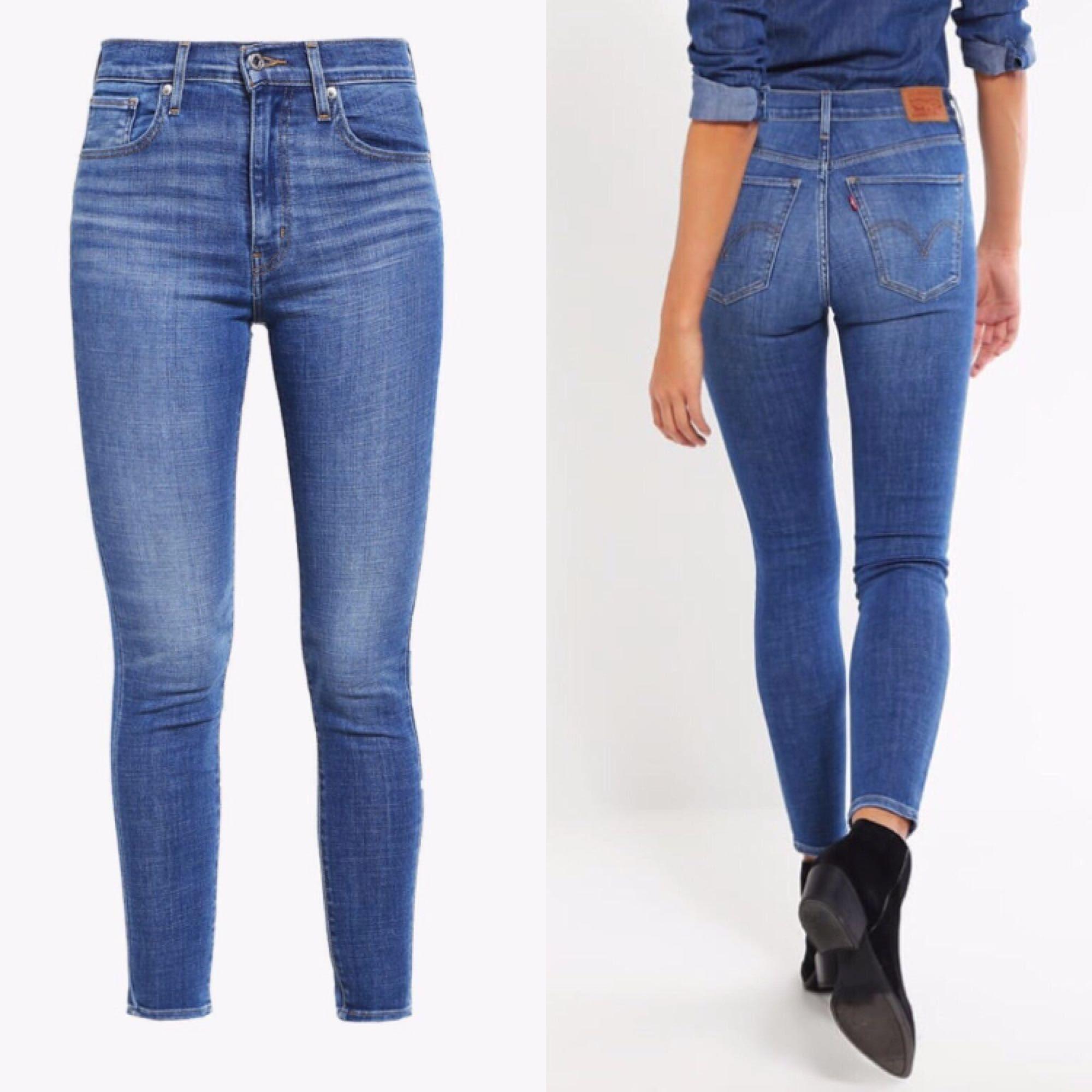 Helt nya Levis mile High skinny jeans. Stl 28/30, men mer som 32 längd o passar även stl 27🌞Jättefin tight passform och hög i midjan🌸 Endast använda 1 gång. Frakt kostar 45 kr🌞. Jeans & Byxor.