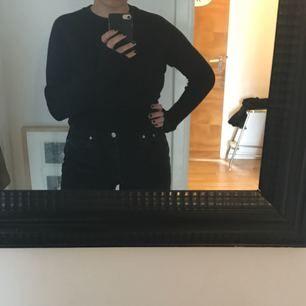 Ribbad och stickad svart långärmad tröja från h&m