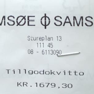 Tillgodokvitto från Samsoe and Samsoe  butik i Östermalm för 1679.3 SEK, säljs nu för 1300:-