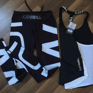 Nytt I Can I Will tränings set svart vit mönstrat i stl L  PS ganska liten i stl. Ord pris top 349:- tights 599:-  Säljer tillsammans för 500:-