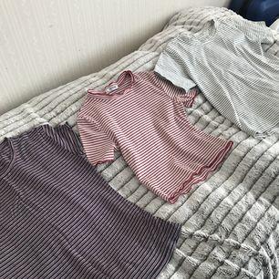 Tre randiga t-shirts. Alla tre i superbra skick och i storlek S. En för 60kr eller alla tre för 150kr inklusive frakt!