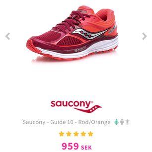 Saucony Everun Guide 10. Köpte vid årsskiftet och har använts 3 gången eftersom de inte passar mig.   Möts gärna upp i Stockholm, undviker helst frakt.   Skriv om du har frågor 🏃🏼♀️