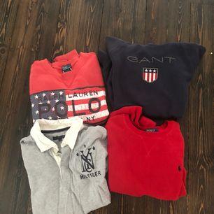 Röd Ralph Lauren med flagga, Sweatshirt- Strl M 10-12 år. Mörkblå Gant SÅLD,Huvtröja- strl 170 15 år. Röd Ralph lauren SÅLD, Sweatshirt- strl L 14-16 år. Grå Tommy Hilfiger - strl 164. 200kr st eller 750 för alla.