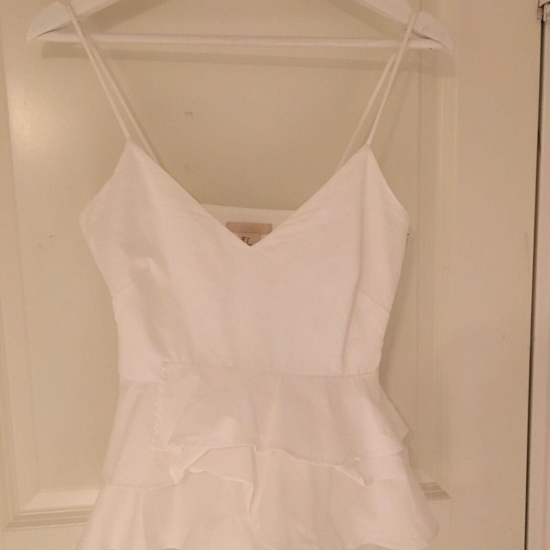 Super fin vit blus med volanger och döljd dragkedja på sidan från h&m. Säljer då den tyvärr är för liten.  Pris kan diskuteras:) Möter upp och fraktar. (Frakt står köpare för). Blusar.