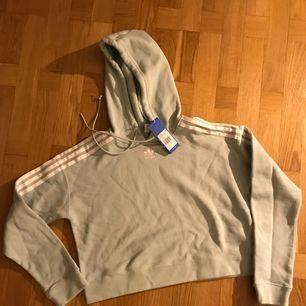 """Adidas chopped hoodie . Ljus blå eller """"dust green"""""""
