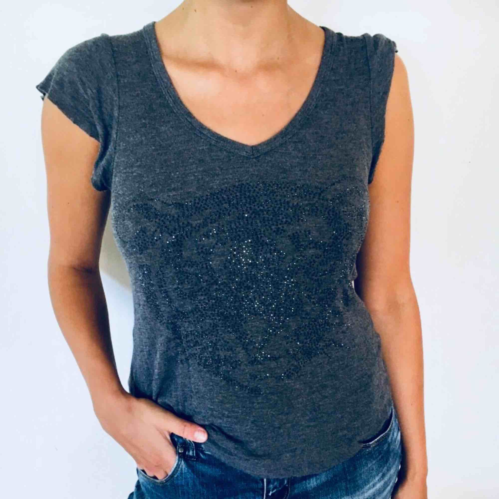 Jättefin grå t-shirt med stenar i form av en tiger!🐯 frakt 20. T-shirts.