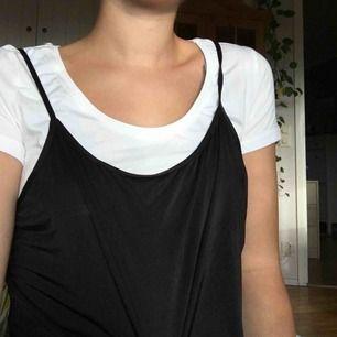 svart linne i silkesliknande material. fint att ha över tröjor. har redan flera liknande linnen så säljer detta. har justerbara band och passar nog xs-m beroende på hur man vill att den ska sitta. (jag är en s) frakt 9kr