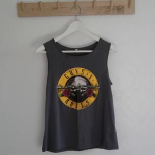 Grått Guns N Roses linne, aldrig använt så helt ny! Pris 20kr, kan skickas om köparen står för frakt. Betalas med swish🎉