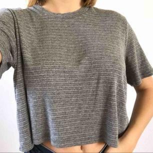 En grå cropt t-shirt, från Brandy Melville! Väldigt mjuk och töjbar. (Har aldrig använt)