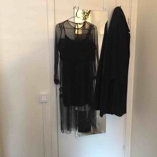 svart supercool klänning i fisknätsmönstrad mesh och inkluderad underklänning. volanger vid byst och ärmslut. endast använd två ggr, perfekt skick.