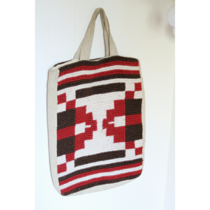 ❤  FRI FRAKT ❤  handgjord och slitstark väska  i naturmaterial, virkning i ull. Handtag och innerfoder lite mörkare pga användning.