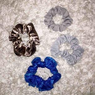 Fyra helt oanvända scrunchies! 19 kr styck eller alla för 49 kr!