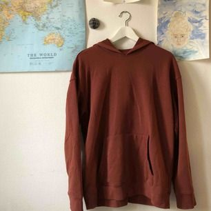 En roströd hoodie som hängt alldeles för länge på en galge. Passar nu till hösten då den är ganska stor i storlek så en kan få plats med mycket under, samt har den en luva som kan skydda mot regn 👍👍👍