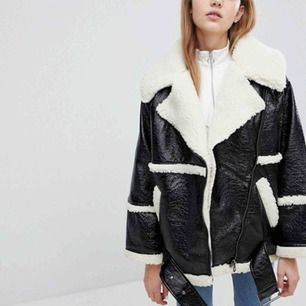 Monki Premium Shearling Aviator Jacket oversize ✨nyskick✨fraktar  Bilder från Asos