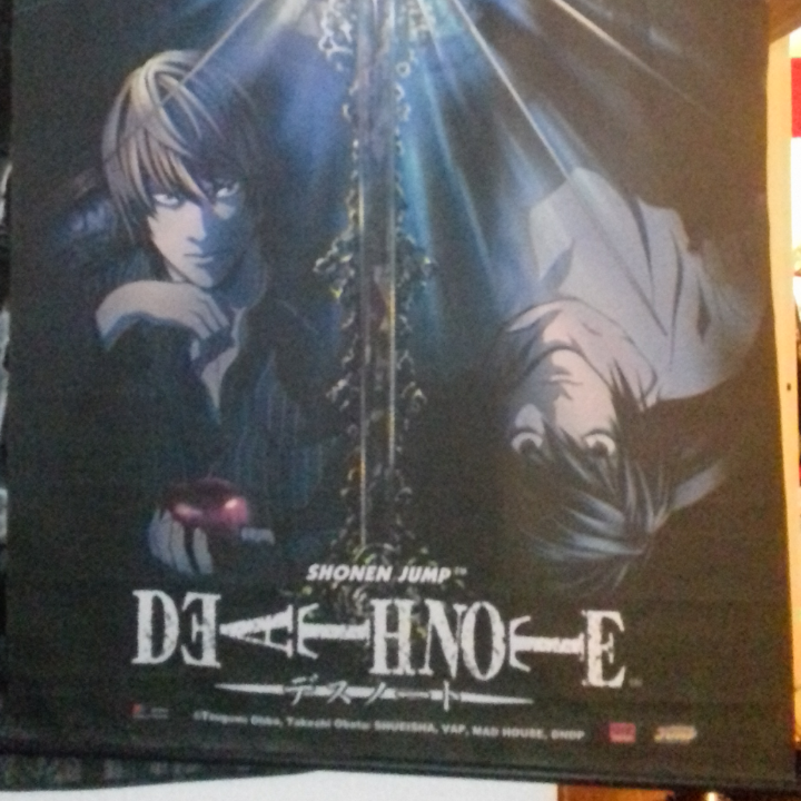 Death note / anime tyg flagga / tavla.  Krokar att hänga upp med.  . Övrigt.