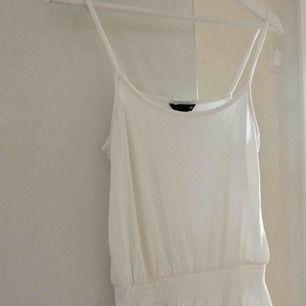 Avslappnad vit klänning från H&M i strl S som passar perfekt att ha i beredskap sen när det blir varmare igen 😄