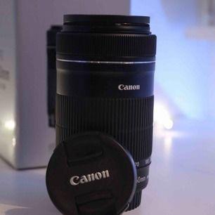 Helt nytt Canon EFS 55-250mm f/4-5.6 objektiv. Ändats använd en gång. Är bara lite mer än en månad gamla och är helt felfri. Tillkommet variabelt ND-filter och originalförpackning.