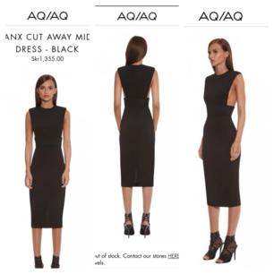 AQ/AQ  Tanx Cut Away Midi Dress – Strl UK 10 /Euro 38- Ny med tags Nypris 1355 kr Säljs för 950 kr frakt ingår. Priset kandiskuteras vid snabb affär.Slutsåld. Ursnygg och ovanlig helt ny midi klänning från AQ/AQ . Påminner om Versace, JPG Marc J, Chanel i stilen. Ovanlig och sexig så var beredd på komplimanger. LBD with a twist. FrånSS16 Lunar Collection. Passa på att fynda och bli sexigast på jul och nyårsfesten.   Säljer den med sorg i hjärtat tyvärr då den är för liten på mig och en sån exklusivklänning är till för att bäras. Djupt skurna ärmhål. Nätta axelvaddar. Hög midja. Liten slits bak. Dragkedja bak. Material:95% Polyester 5% Spandex. Handtvätt/Kemtvätt. Modellen på bilderna är 180 cm och strl UK 6AQ/AQ, tidigare känt som Aqua by Aqua, ger oss en glimt av en värld av där lamporna aldrig slocknar och musiken aldrig tystnar.AQ/AQ:s kollektion av djärva partyklänningar och festplagg bevarar Aqua-stilen samtidigt som den får en pigg och fräsch twist. Hämtas utav köparen i Södertälje centrum /Skickas frakt ingår i priset. Har Swish. Titta gärna på mina andra annonser. 10% av det jag säljer ger jag till välgörenhet genom targetaid.com, skickar screenshot med donationen 😊