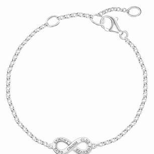 """Thomas Sabo silverarmband i bra skick. Små """"diamanter"""" på ena sidan och andra sidan små ord."""