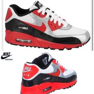 Säljer mina fina klassiska Nike Air Max 90 skor i röd /silver/svart/Vit färg. Färgen säljs inte längre. Begagnad skick men fortfarande fin och har tvättat skorna därför jag tog av skosnöre. Hade behövs ny skosnöre. har i svart.