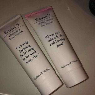 Tvål & dagkräm från märket Emma S, sjukt bra produkter som passar perfekt till känslig hy! Varje tub är 50 ml och det är mycket produkt kvar