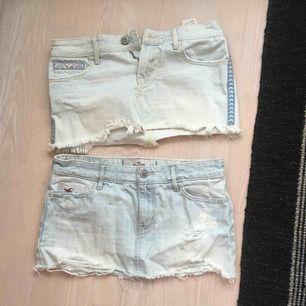 Jag säljer två Hollister kjolar för 30kr/styck (+ frakt). Dem är i storlek 1, W 25, men skulle säga att dem är väldigt små och framförallt korta! Men väldigt fint ljusblå jeanstyg, med slitningar och fina detaljer!