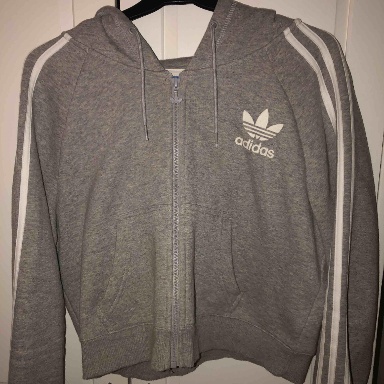 En äkta grå/vit adidas croptop hoodie.  Aldrig använd pga att den inte passade. Är egentligen större storlek men är väldigt liten i storleken. Köparen står för frakten.. Huvtröjor & Träningströjor.