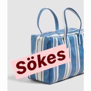 Söker denna väska från Mango! Gärna blå men även de andra färgerna är intressant.