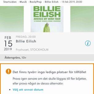 Säljer två biljetter till Billie Eilish konsert. Utgångspriset är 450kr/biljett, högsta bud vinner (antingen på båda eller en av biljetterna). Skriv era bud i kommentarerna så att andra kan se vilket det nuvarande budet är! Avslutas sista januari!
