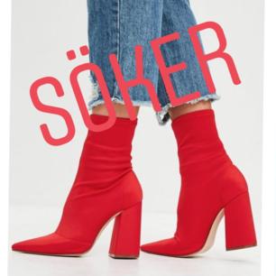 Jag söker efter röda sock boots med breda klackar i storlek 39. Om du har några i bra skick som du inte använder och vill sälja hör av dig! 😊💕