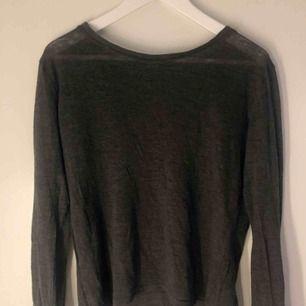Mysig tunt stickad tröja från bikbok i storleken xs. Tröjan är mörkgrå och en aningen transperant.  Köparen står för frakten.