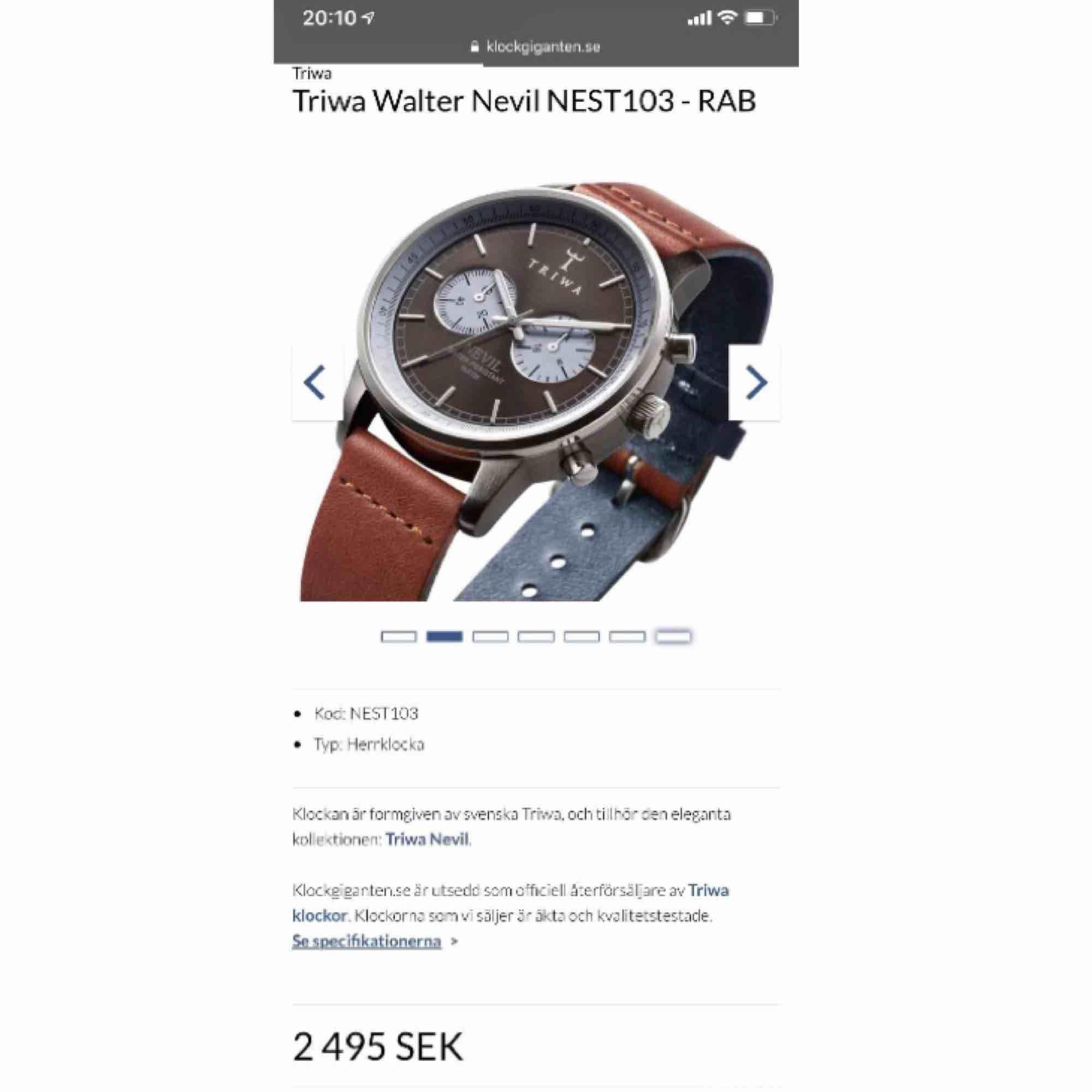 Klocka av märket Triwa använd ett fåtal gånger. Nypris 2495:-.. Accessoarer.