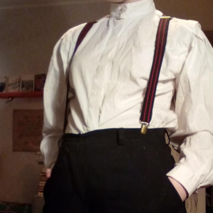 Jävligt fancy skjorta med puffärmar!! Älskar denna men är lite för classy för mig just nu. Går att knyta upp eller styla med hängslen som en cool järnarbetare. Har ej normal skjortkrage utan knäpps hela vägen upp som på sista bilden. Betalas via Swish. Frakt ingår. . Skjortor.
