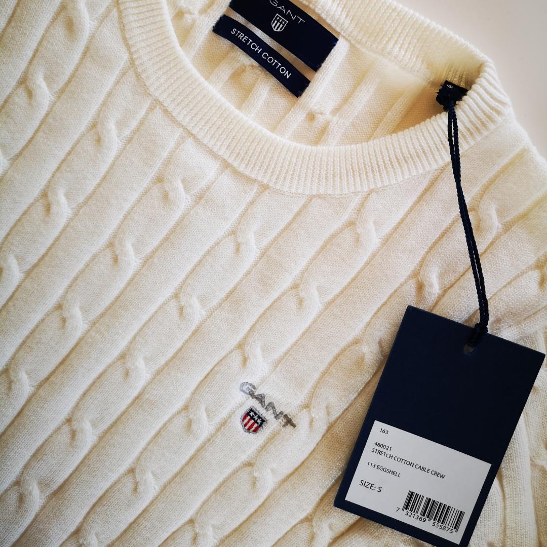 Nytt äkta Gant Kabelstickad tröja strl  Large  Endast testad tags kvar fick jag den Julklapp tyvär lite tags pris 1190kr Säljes halva priset 600 kr Kan frakta också spårbarga köparen betalar 60 kr . Tröjor & Koftor.