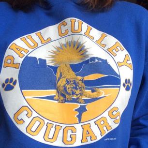 En blå hoodie köpt på beyond retro med najs tryck på. Använd endast fåtal gånger 💙