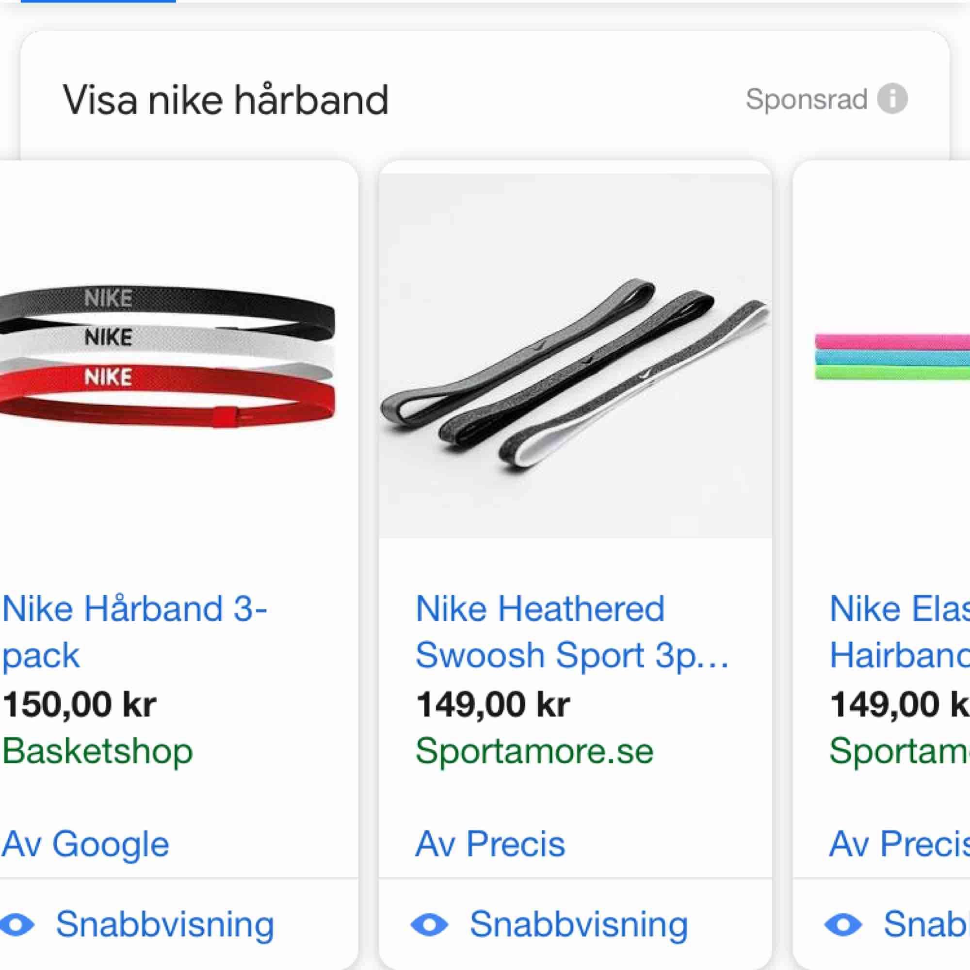 Fri frakt.  Tre oanvända Nike hårband. Grå, Svart och Rosa, alla för 85kr.  Vanligtvis kostar 3st hårband av Nike ca 150kr . Accessoarer.