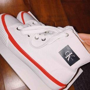Säljer ett par helt oanvända, endast provade Calvin Klein skor storlek 36. Nypris 950kr, säljer för 650 kr med lådan inkluderad i priset.  Finns att hämta i Skellefteå annars står köparen för frakt. Ligger även uppe på andra sidor.