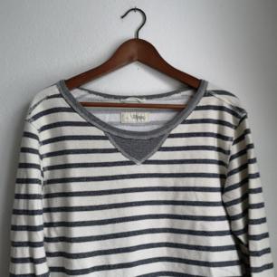 Mysig sweatshirt i vitt/cremevit och blågråa ränder och muddar på ärmarna. Säljer pga kommer inte till användning tyvärr.
